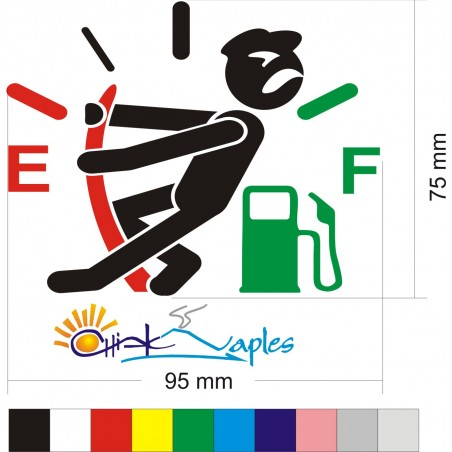 Omino alza LANCETTA BENZINA Adesivo sticker carburante auto tuning