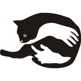 Adesivo Gatto Abbraccio