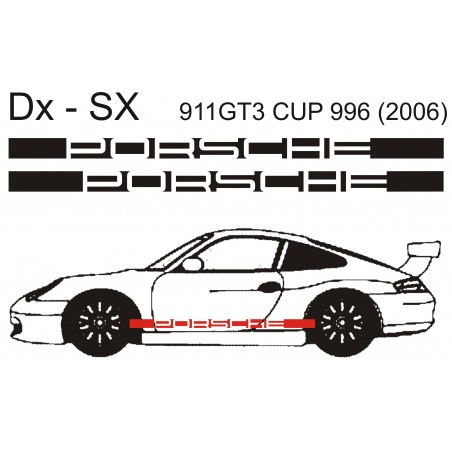Coppia REPLICA Adesivi Fiancate 911 GT3 anni 2006 Scritta PORSCHE